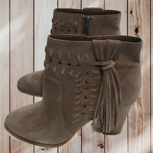 INC Macy's Suede Western Inspired Bootie w/Fringe